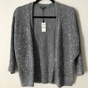 NEW Express Silver Sequined Cardigan | M